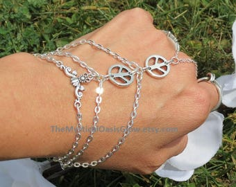 Peace Sign Jewelry Slave Bracelet, Ring bracelet, silver hand chain, peace bracelet, hand jewellery, body jewelry chain