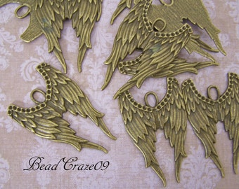 2 Pieces ~ Dramatic Angel Wings ~Lovely Large Pendant- Add Your Own Patina and Rhinestones! Just Awesome!!