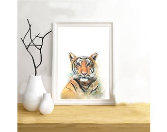 Tiger print on paper drawing illustration, animal painting mixed media (paint, pastels, pencils...).