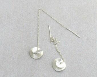 Ear thread earrings, Sterling silver ear threaders, Dainty earrings , Chain earrings, Mothers day gift, Minimal earrings