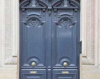 Paris Photography - Paris Blue-grey Door No. 8, Travel Photograph, Paris Architectural Fine Art Print, French Home Decor, Large Wall Art