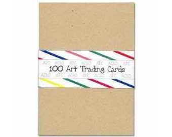"100 Kraft ACEO ATC BLANK Cards 2-1/2""x3-1/2"""