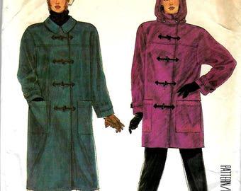 McCall's 2757    Misses Unlined Coat and Detachable Hood    Size Sm    Uncut