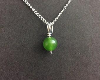 Tiny Nephrite Jade Charm Necklace
