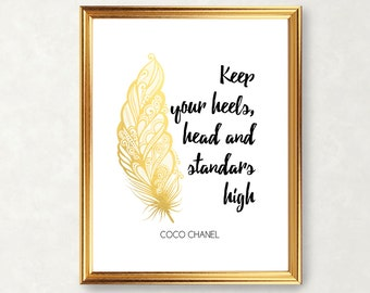 Coco Chanel gold foil quote, printable gold and black chanel beauty quote