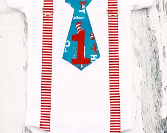 Dr. Seuss Cat in the Hat Theme neck tie Strip Red Suspender  Boy Cake Smash Outfit, Boy first Birthday, Boy 1st birthday