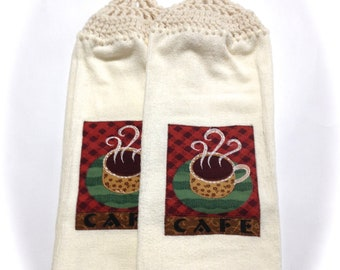 Cafe Hand Towels With Aran Crocheted Tops- Pair
