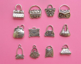 The Ultimate Handbag Collection - 12 different antique silver tone charms