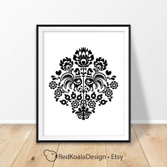 Modern Home Decor Folk Prints Polish Folk Art Print Poland