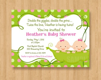 Two Peas in a Pod Baby Shower Invitations JPEG Cute Simply Adorable TWINS Girls