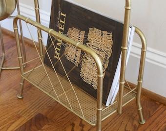 Vintage Magazine Rack - Mid century modern Brass Bamboo magazine rack or record holder
