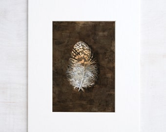 Owl Feather Watercolor Print, rustic nature art print, 5x7