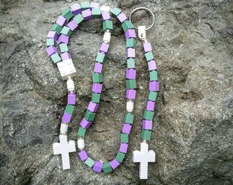 The Original Memento Moose Rosary and Chaplet Set Made with Lego Bricks - Purple, Green, and White - First Communion Special!