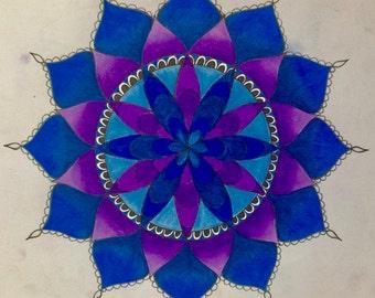 Blue and purple mandala bumper sticker