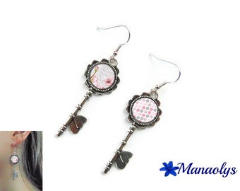 Keys, glass cabochon, pink flowers and dots 3025 Silver earrings