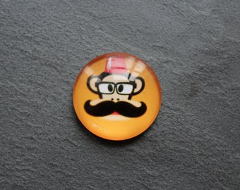 Cabochon 25 mm monkey mustache glass