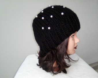 Hat woman, girl knitted wool hat - Handmade Knitwear - pearls - beanie - winter clothing - handmade
