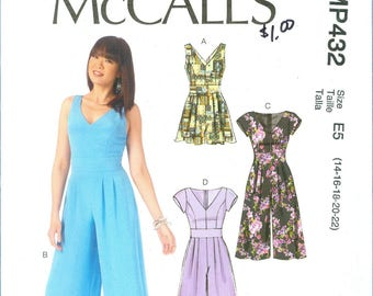 2015 Misses' Romper and Jumpsuit for A B C D Cup Sizes, and Pants Uncut Factory Fold Size 14,16,18,20,22 - McCall's Sewing Pattern MP432