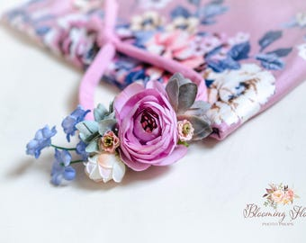 RTS Floral wrap and tieback set, Pink Mauve Newborn Floral Photo prop set, Newborn Photo Prop, Floral wrap, Newborn tieback.