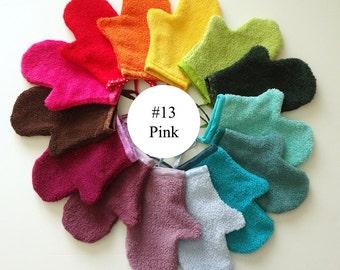 Pink Terrycloth Bath Mitt (#13)