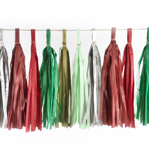 Enchanted Christmas Tassels, Tissue Tassels, Tassel Banner, Christmas Party Decor, DIY Tassels, Baby Shower Wedding Seasonal Holiday Garland