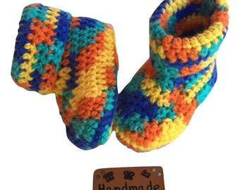 Colorful 1 to 3 month baby booties