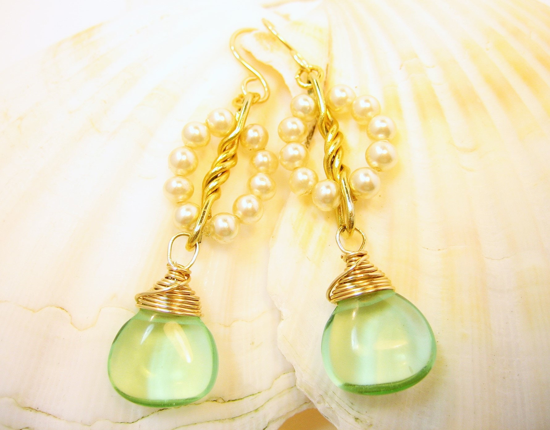 Two tone earrings, gold and pearl, sea green gemstone droplet earrings, bridal jewelry
