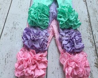 Ruffle Capris Girls Clothing Pink, Mint, White Little Girls Triple Ruffle Toddler Capris Layering Pants Ruffle Leggings Toddler Capri Pants