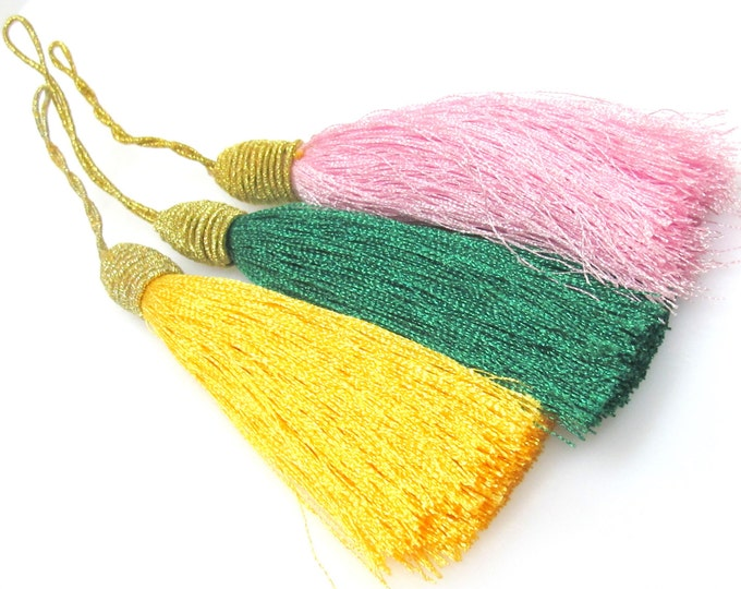3 tassels set  - Long pink yellow green color silky tassels charms with golden cord twine - tassle fringe craft supply - TS018