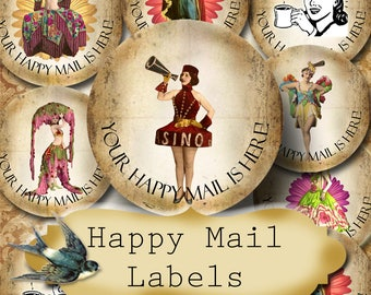Happy Mail •60 Custom 1.5 x 1.5 Round STICKERS•Round Labels•Tags•Package Labels•Custom Stickers•Custom Labels•Packaging•FANCY GIRLS