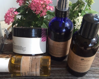 Oily Skin Complete Skincare Package, spa gift set, bath and body set, oily skin cleanser, oily skin bath set, natural exfoliation, toner