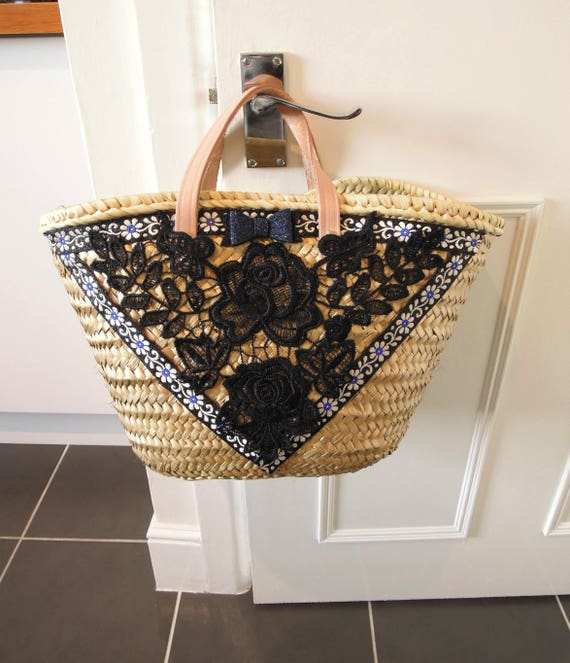 Straw bag  Golden straw basket French market bag  Gold market basket OOAK Small straw bag embellished with lace, trims and leather handles