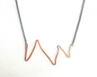 Copper and gun metal zigzag necklace