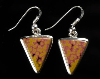 4cm OCEAN JASPER Earrings Bezel Set in Sterling Silver - Natural Jasper Cabochon Drop Earrings J573