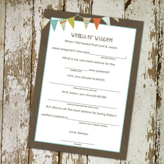 rustic baby boy shower invitation b is for baby invite Kraft paper rustic chic gender reveal party game MAD LIB ADVICE 122 katiedid designs