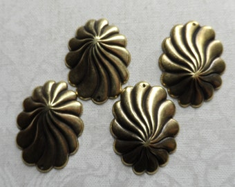 "Vintage gold plate brass stamped swirl dome earrings,7/th""x5/8th"",4pcs-ERG76"