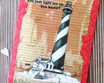 "Sweet Love Card. Anniversary card. Romantic card.  ""Light me Up""."