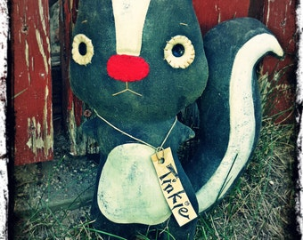 "Primitive ""Tinkie"" Skunk Folk Art Doll, Woodland Baby Decor, Rustic Country Cabin ,"
