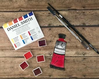 Daniel Smith Fine Art WATERCOLOR hand-poured half pans-REDS