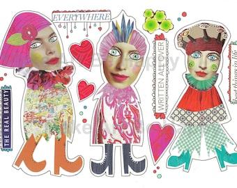 Digital collage sheet,nr. D06, mixed media dolls, whimsical creatures, fantasy, imaginary, handmade, scrapbooking, journaling