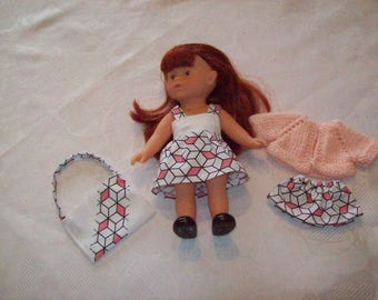 2 outfits for doll 20 cm:type corolline, dress, skirt, vest, bolero is hand printed cotton bag