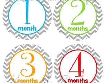 Baby Monthly Stickers Milestone Stickers Baby Boy Girl Gender Neutral Month Bodysuit Stickers Bright Colors Grey Chevron Stickers New