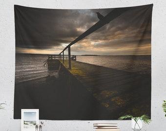 Wall Tapestry With Emotional Sunset Photography Print, Ocean Photo, Wall Art, Wall Decor, Home Decor, Original Photography, Dorm Decor, Boho