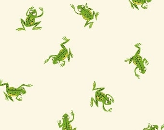 Heather Ross Kinder Fabric, green frogs on white, Windham Fabrics SKU 43484-3, half yard quilting cotton, frog fabric, green frogs fabric