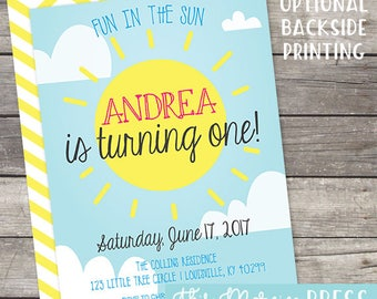 Fun in the Sun Summer 1st Birthday Party Customizable Invitation