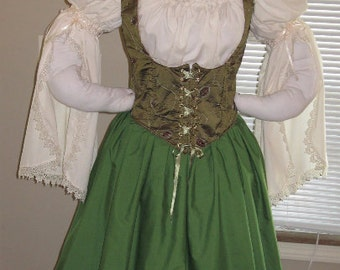 DDNJ Choose Fabric Renaissance Reversible Corset Style Bodice Chemise Skirt 3pc Costume Plus Custom Made ANY Size Cosplay Anime Pirate Wench