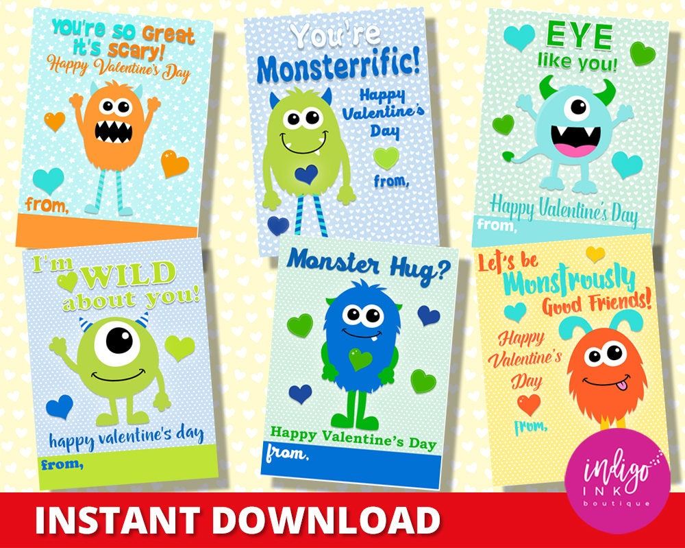 Children Valentines Monsters Valentine Card Kids Kids