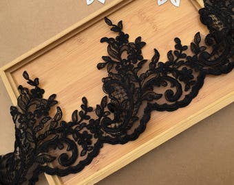 black lace trim, black alencon lace, cord lace trim, delicate cord lace border by the yard, cord scalloped lace trim by the yard