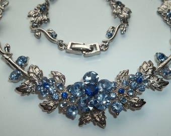 Sapphire Blue Rhinestone Floral Necklace   # CC