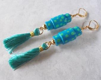 Teal and Aqua Polka Dot Tassel Boho Earrings (4273)